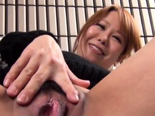 Asian babe strokes vag