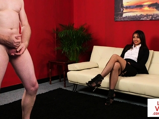 Stockinged CFNM voyeur enjoys last through jerking off